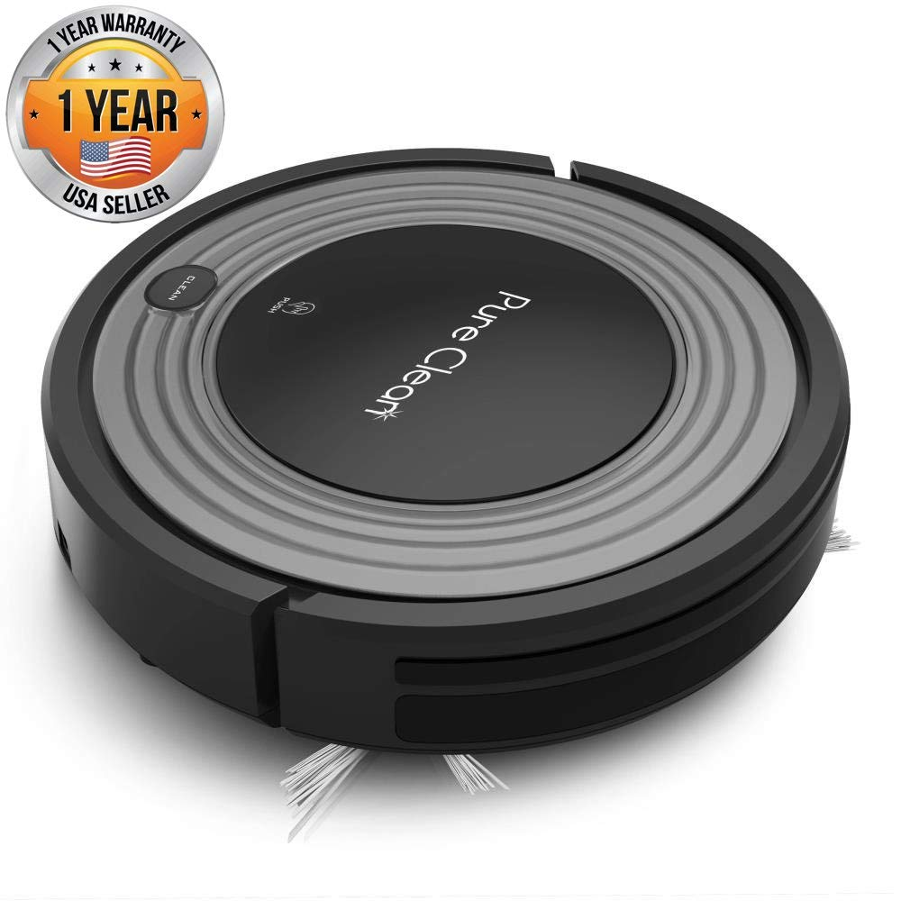 Automatic Programmable Robot Vacuum Cleaner - Robotic Auto Home Cleaning for Clean Carpet Hardwood Floor w/ Self Activation and Charge Dock - HEPA Pet Hair & Allergies Friendly - PureClean PUCRC96B