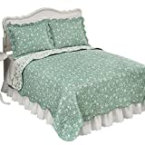 Collections Etc Floral Scroll Two-Tone Scalloped Edges Reversible Lightweight Quilt, Sage, Full/Queen