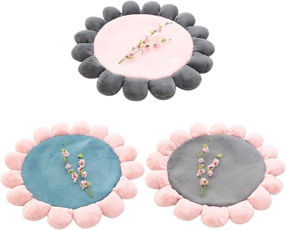 Pl/üsch Baby-Boden-Spielmatte f/ür Babys und Kleinkinder dick ca.110 cm Boden-Sitzkissen mit Blume Spielmatte f/ür oder Schlafzimmer weich Kunstfell Wohnzimmer-Dekoration flauschig rund
