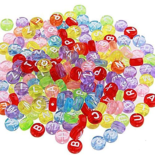 Domccy 200 pcs Round Plastic Beads with Alphabet Letters 7 mm Multi-Coloured Toys & Games, Doll House, Children's Toys, Halloween Game ()