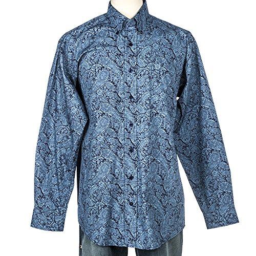 Cinch Men's Classic Fit Long Sleeve Button One Open Pocket Print Shirt, Blue Paisley, Large