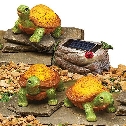 (Collections Etc Solar Turtles Garden Figurine - Set of 3)