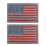 #9: 2 pieces Tactical USA Flag Patch -Subdued Silver- American Flag Embroidered Red Border US United States of America Military Uniform Emblem Patches