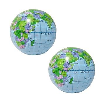 YeahiBaby Globo inflable | Globo de la tierra Mapa 2 Piezas - Educativo Playa jugando juguete de la bola