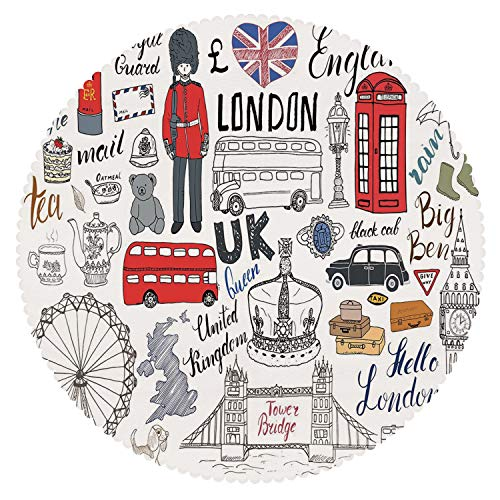 iPrint Stylish Round Tablecloth [ Doodle,I Love London Double Decker Bus Telephone Booth Cab Crown of United Kingdom Big Ben Decorative,Multicolor ] Fabric Home Tablecloth (Mission Style Telephone Table)
