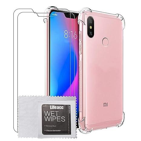 Cover Xiaomi Mi A2 Lite + Pellicola Protettiva in Vetro Temperato [2  Packs], Lifeacc Nuovo Arrivo Air Cushion Antiurto Morbida Silicone  Trasparente