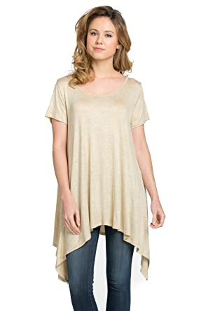 8e6210e08bc Frumos Womens Tunic Short Sleeve Top T Shirts T Shirts IT-Oatmeal Small