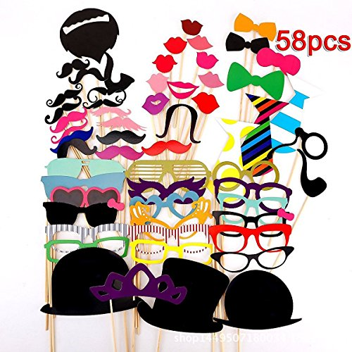 ZOONAI 58 pcs Colorful Photo Booth Props DIY Kit Gift for Party Wedding Birthday Christmas Xmas Party Family (Photo Prop Gift Christmas)