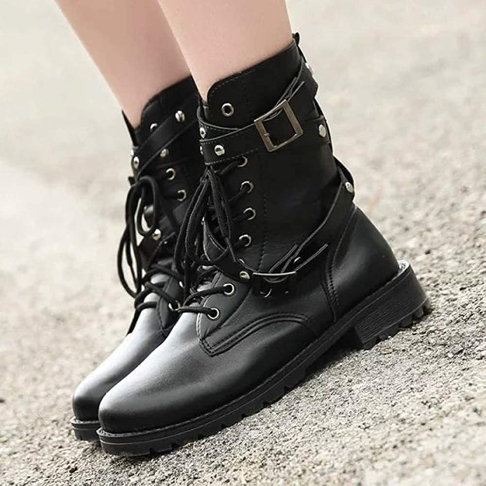 Minetom Femme Mode Rock Rivets Lacets Bottes Motard Cuir PU Moto Bicyclette Cheville Bottines Chaussures Plat Casual Ankle Boots