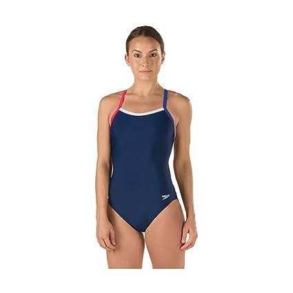 6e45c88b8 Speedo Women's Colorblock Flyback Rio Americana One Piece Swimsuit, Navy/Red /White,