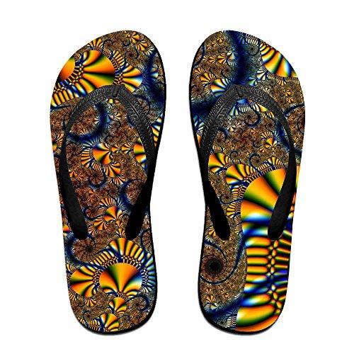 Unisex Fractal Zomer Riem Slippers Strand Slippers Platforms Sandaal Voor Mannen Vrouwen Zwart