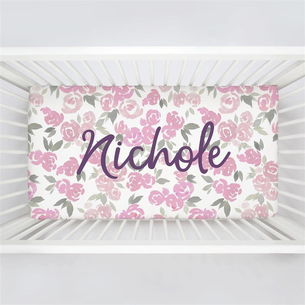 Carousel Designs Personalized Custom Pink and Gray Watercolor Roses Crib Sheet Nichole Idea - Organic 100% Cotton Fitted Crib Sheet - Made in The USA