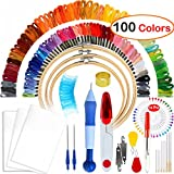 Arts & Crafts : Full Range of Magic Embroidery Pen Punch Needle,3 Pieces Bamboo Embroidery Hoops,100 Color Threads and Cross Stitch Tool Kit, 2 Pieces 12 by 18-inch 14 Count Classic Reserve Aida