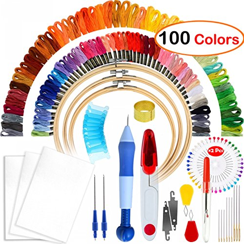 Full Range of Magic Embroidery Pen Punch Needle,3 Pieces Bamboo Embroidery Hoops,100 Color Threads and Cross Stitch Tool Kit, 2 Pieces 12 by 18-inch 14 Count Classic Reserve Aida by MDPQT