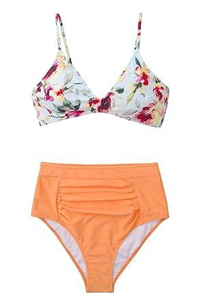 fd88559aba Amazon.com: CUPSHE Women's Floral Orange Crush High Waisted Bikini ...