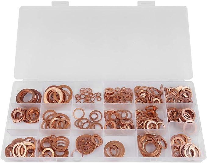 HYY-YY Sumidero Plug Arandelas, 395pcs Buena conductividad eléctrica de Cobre sólido Plana Anillo Arandelas sumidero Plug Surtido 18 Tamaños Kit con la Caja for los generadores de Coches Marinos