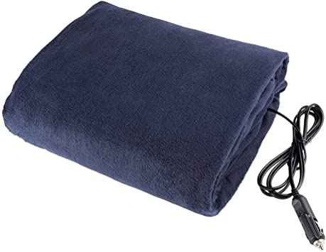 Excellent Cold Weather Supplies dongran 12v car Heating Blanket,12V Heated Wool Travel Blanket Heating Blanket with AC Adapter for Automatic car Supply RV Black and White Grid