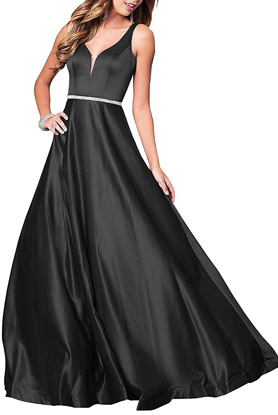 Black Deep VNeck Long Satin Prom Dress with Beaded Pocket Formal Evening Party Gown