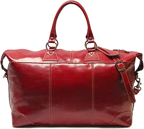 Floto Capri Italian Leather 22 Duffle Bag in Tuscan Red