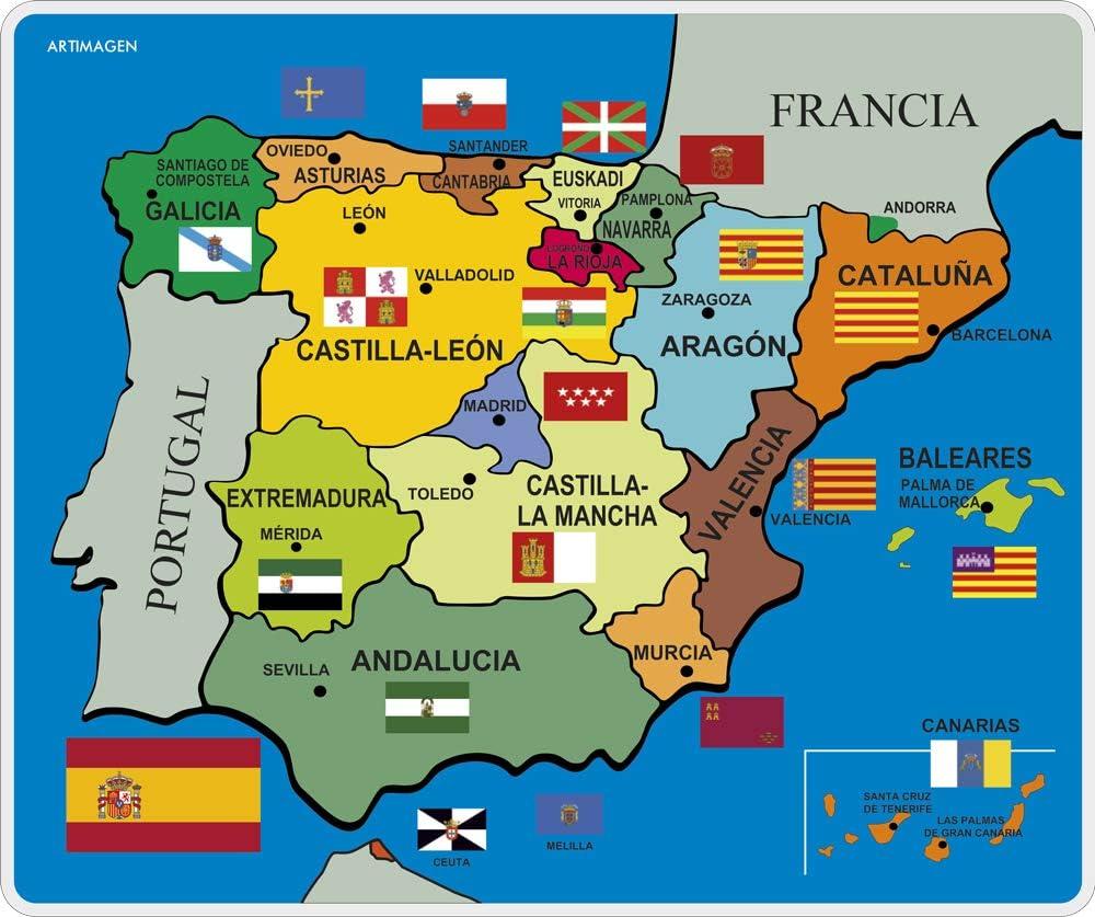 Artimagen Alfombrilla, Mouse Pad Mapa España político 245x205 mm.: Amazon.es: Electrónica