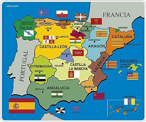 Cartina Spagna.Artimagen Tappetino Mouse Pad Mappa Spagna Politico Mm 245