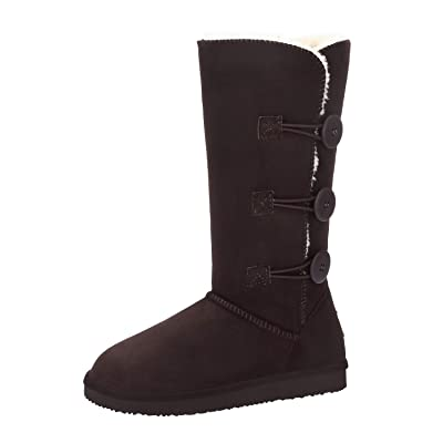 """CAMEL 12"""" Tall Mid Calf Winter Boots for Women Faux Fur Snow Boot 3-Button Suede Fashion Booties Knee High 
