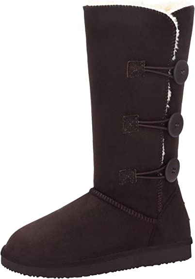 Womens boots black or tan  winter warm knee boot leather suede look fur trim