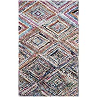 Safavieh Nantucket Collection NAN314A Handmade Abstract Geometric Diamond Multicolored Cotton Area Rug (3 x 5)