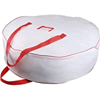 "Christmas Wreath Storage Bag - Xmas Large Wreath Container - Reinforced Wide Handle and Double Sleek Zipper - Heavy Duty Protect Your Holiday Advent, Garland, Party Decorations and Ornaments 36"",White"