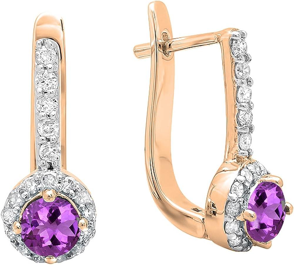 Pendientes redondos de oro rosa de 18 quilates de 4 mm cada piedra preciosa y diamante blanco para mujer
