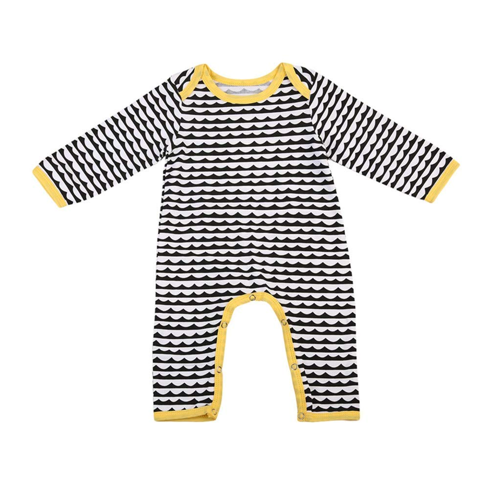 Winsummer Newborn Baby Girl Boy Clothes for 0-24M Cotton Long Stripe Romper Jumpsuit Playsuit Infant Twins Outfit