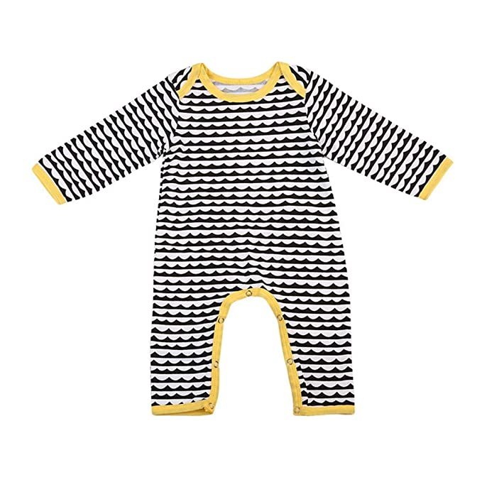 QinMM Mono a Rayas para Bebé Infantil Niño niñas de Peleles Mangas largas Jumpsuit Body Calida: Amazon.es: Ropa y accesorios