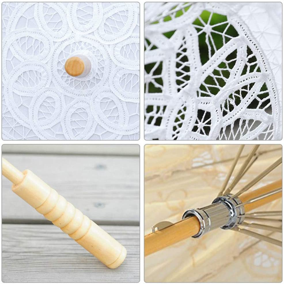 Wedding decoration lace wooden umbrella,Parasol Handle Umbrella Vintage Handmade Party Bridal Wedding White, S