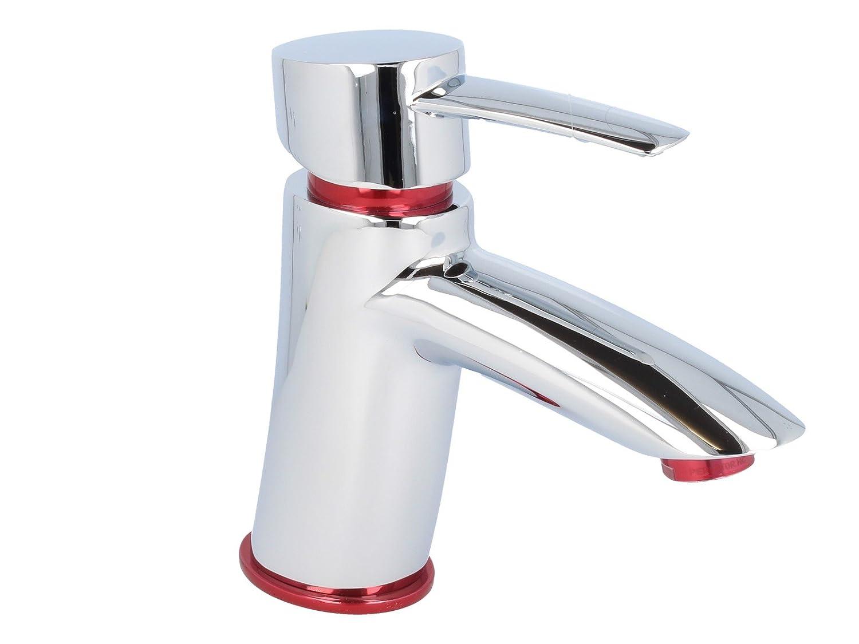 DESIGN Einhebel Waschtischarmatur mit Ablaufgarnitur chrom//rot-metallic