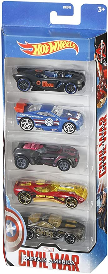Hot Wheels Toy Juego de 5 Coches de Juguete del Capitán América de Marvel y de Iron Man, Hawkeye, Black Widow y Black Panther: Amazon.es: Juguetes y juegos