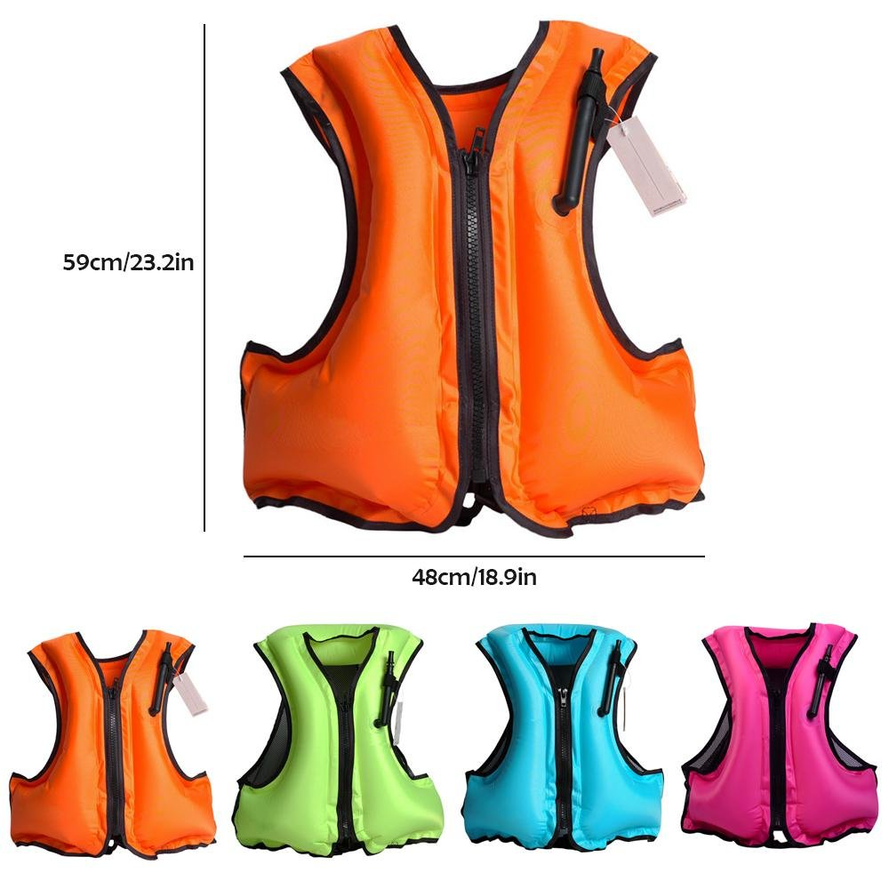 Aolvo Snorkeling Vest Portable Inflatable Zipper Life Jacket Swim Safety  Load For 66-220lbs Men 9840381bc