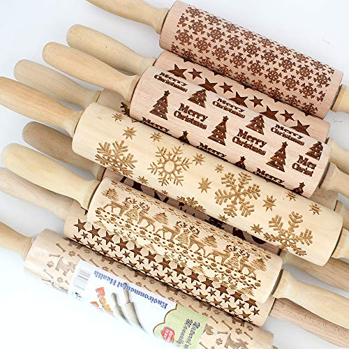 Best Quality - Rolling Pins & Pastry Boards - 43cm/35cm Christmas Embossing Rolling Pin Elk Baking Cookies Biscuit Fondant Cake Dough Engraved Roller Reindeer Snowflake Roll - by ABYSTEPS - 1 PCs
