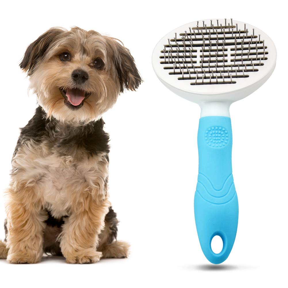 Cat Grooming Dog Brush Pet Brush for Dogs and Cats with Long or Short Hair - Comfortable Self-Cleaning Dog Combs with Rounded Ends Massage Pin Skin-Friendly Dog Shedding Blood Circulation Massage Blue