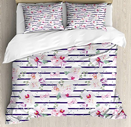 Purple and Blush 4 Piece Bedding Set Duvet Cover Set Full Size, Spring Bouquets Stripes Orchid Peony Bell Flowers Feminine, Luxury Bed Sheet for Childrens/Kids/Teens/Adults, Purple Pink Reseda Green
