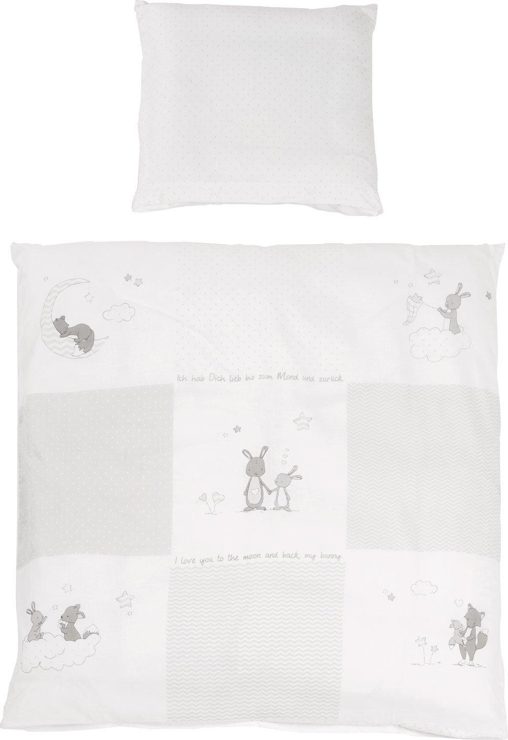 2-teilige, bedruckte Wiegenbettwäsche mit niedlichen Tiermotiven, Kissenbezug: ca. 40 x 35 cm, Deckenbezug: ca. 80 x 80 cm lifestyle4living