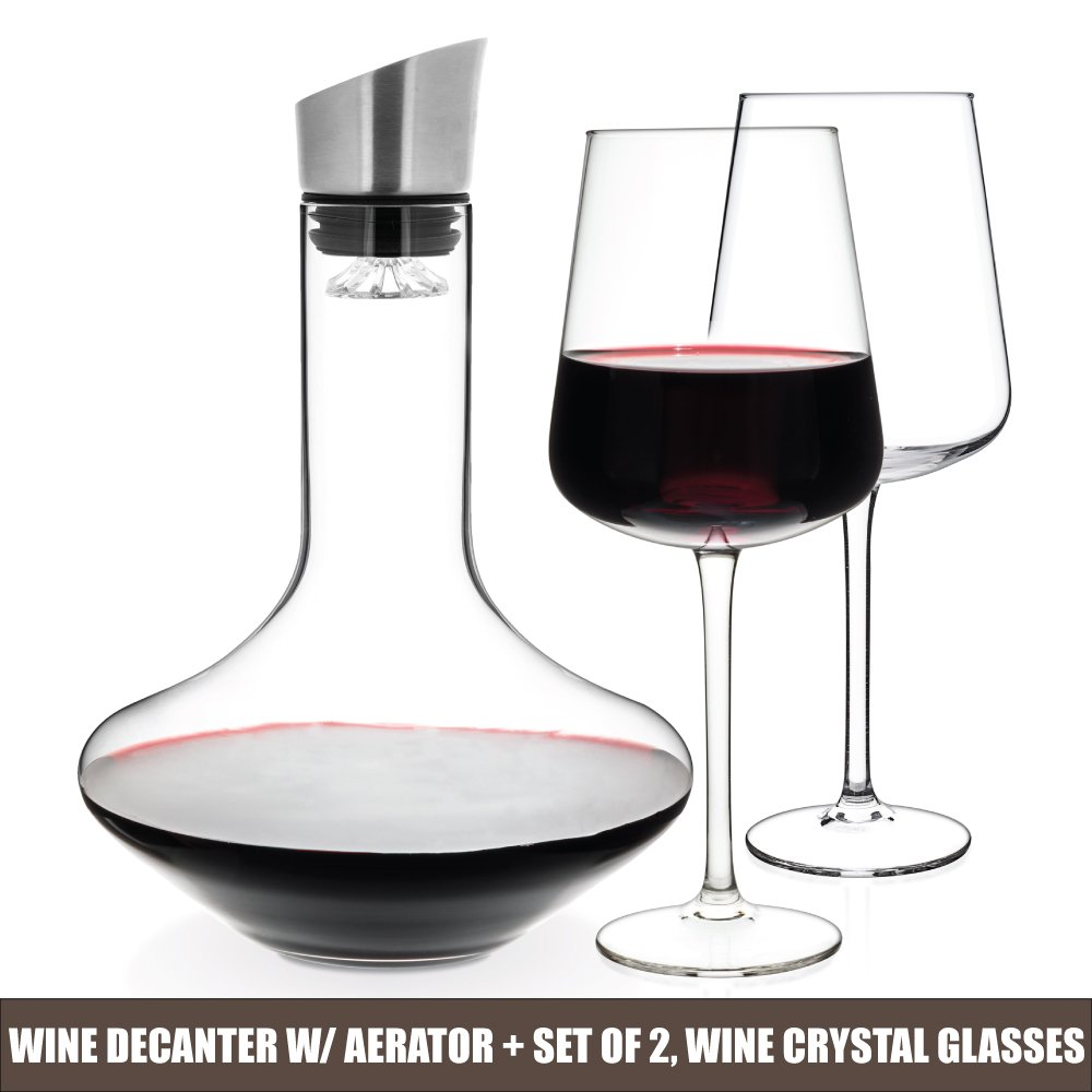Luxbe - Wine Decanter 50-ounce and Aerator Pourer Lid - With Two Crystal Glasses Set - Hand Blown Lead-free Crystal Glass, Red Wine Carafe - Descanter with Stainless Steel Lid-Aerator, Filter, Pourer