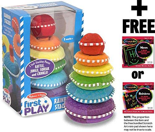 Melissa & Doug Soft Rainbow Stacker: First Play Series & 1 Scratch Art Mini-Pad Bundle (03066)