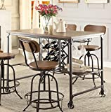 Homelegance Angstrom Rustic Wood and Metal Dining Table With Wine Rack, Walnut