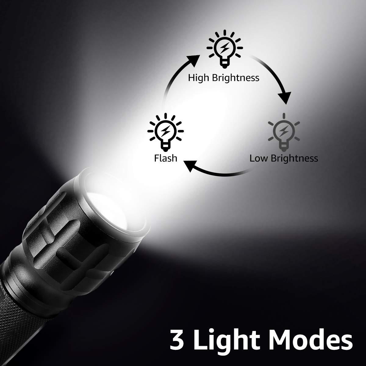 Incluida 3 AAA Pilas LE Linterna LED de Mano 3 Modos Luz Alta Potencia Linternas Antorcha Zoomble Flashlight LED Impermeable para Ciclismo Camping Monta/ñismo