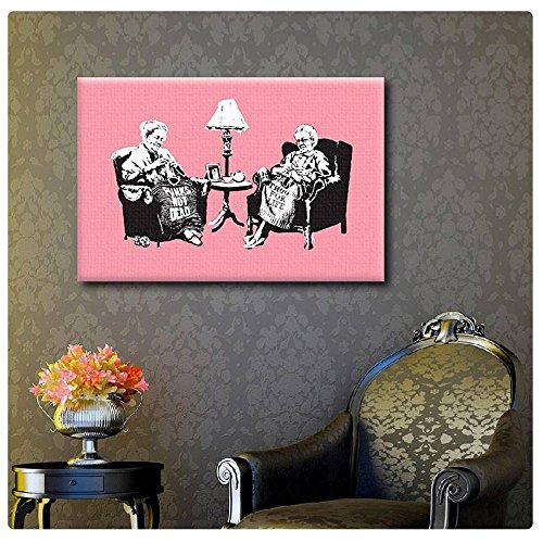 Alonline Art - Old Women Knitting Banksy POSTER PRINTS ROLLED (Print on Fine Art PHOTO PAPER) 36