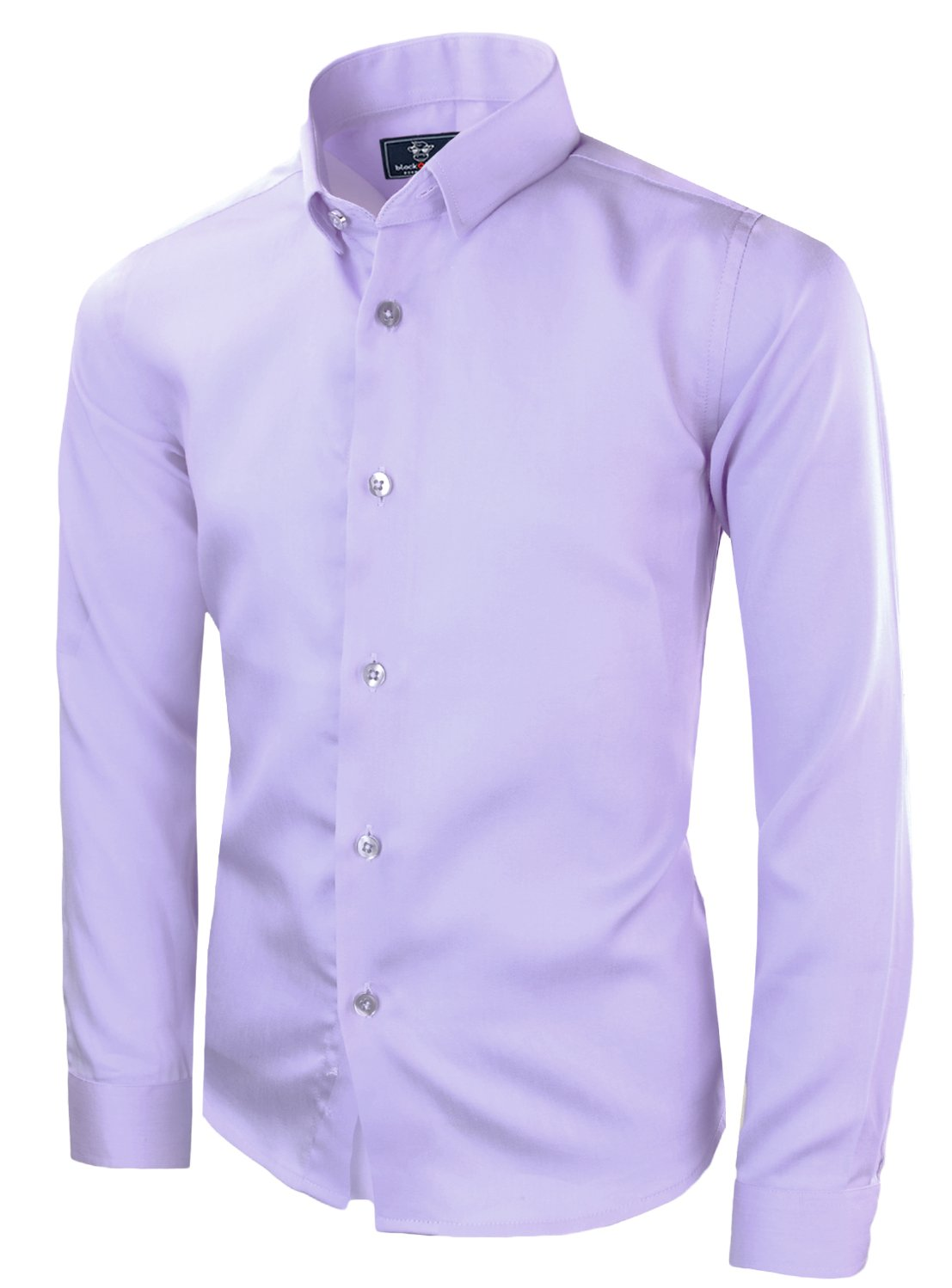 Black n Bianco Boys' Signature Sateen Long Sleeve Dress Shirt (10, Lilac)