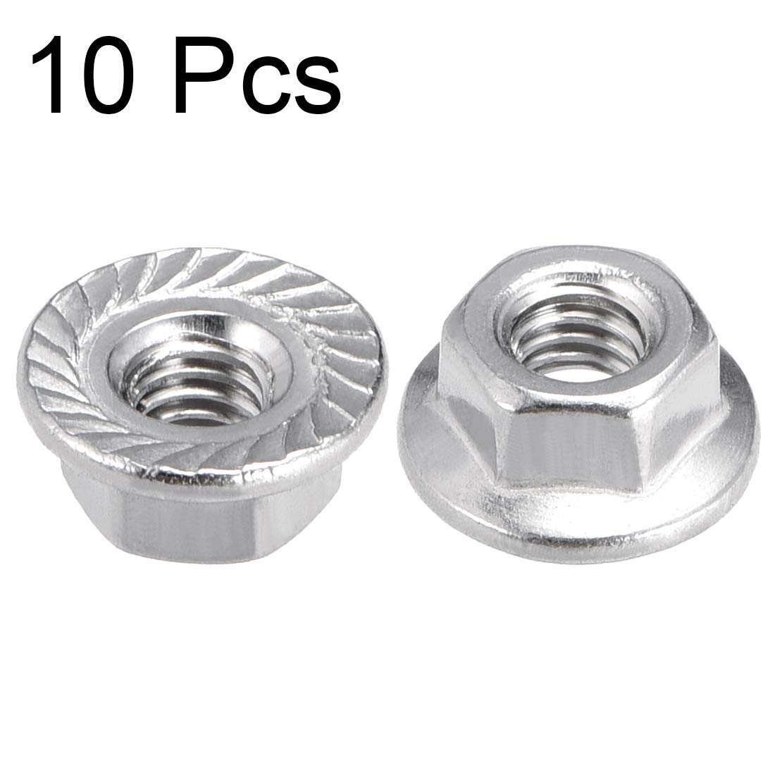 M4 Toothed Flange Hexagonal Safety Nuts 316 Stainless Steel 10 Pieces