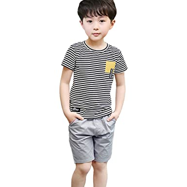 14f8029032d0 Amazon.com  NABER Kids Boys  Fashion Striped Tshirt   Elastic Waist ...