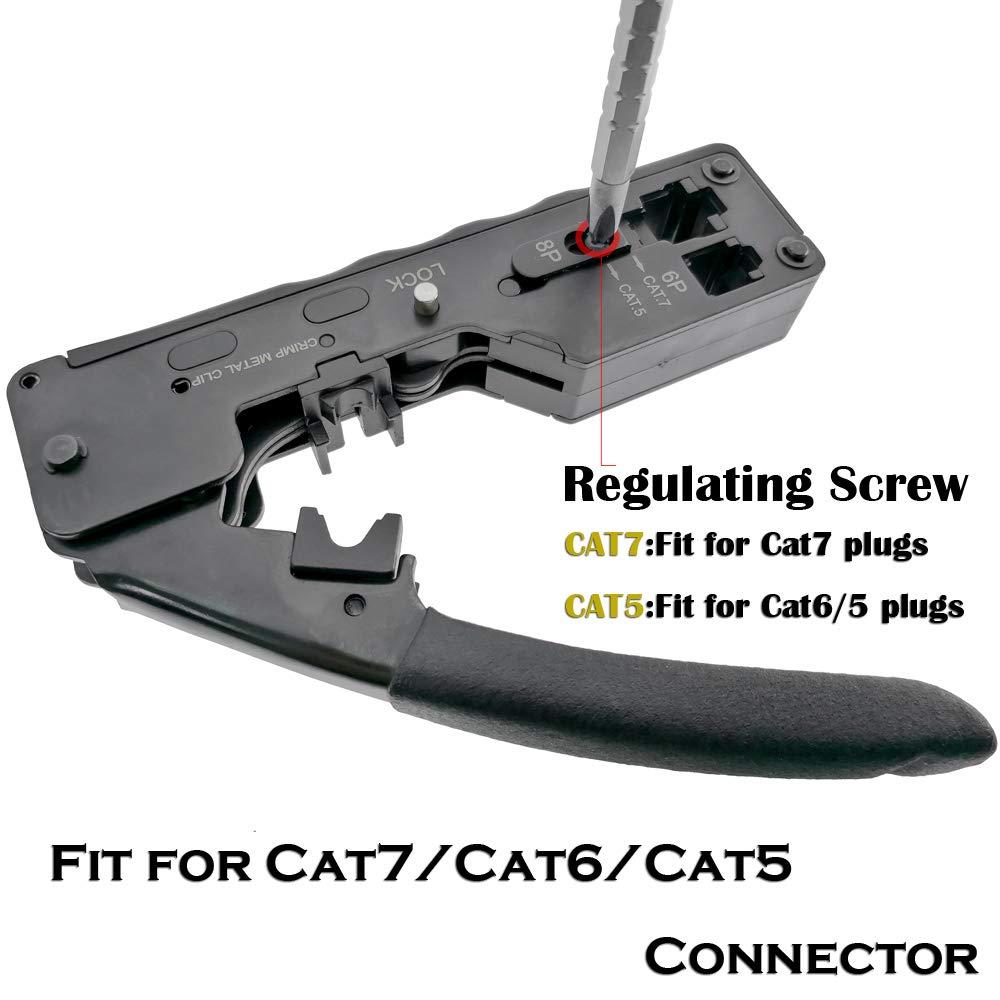 Herramienta de engarce de red Herramienta de engarce para Cat7 Cat6 Cat5e Cat5 STP Enchufe RJ45 Cable de conexión Pinza de metal de engarce multifunción: ...