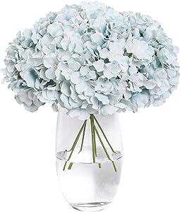 Tifuly Silk Hydrangea Heads with Stems 12 Teal Hydrangea Silk Flowers Head for Wedding Centerpiece Home Party Baby Shower Decor(Blue)